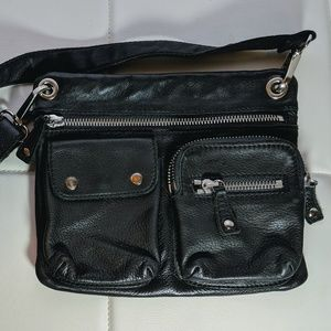 Fossil cow hide leather crossbody bag black